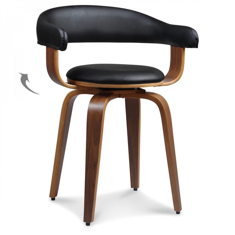 Chaise suédoise pivotante simili-cuir noir et bois