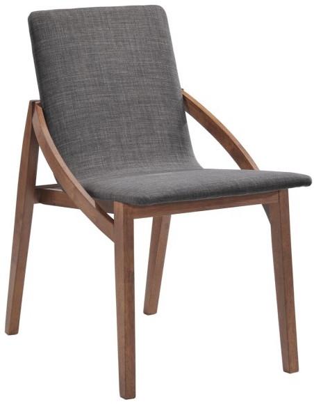 Chaise bois massif marron et tissu gris kenda for Chaise bois tissu