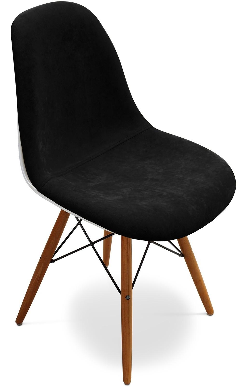chaise tissu noir et pieds bois clair inspir e dsw. Black Bedroom Furniture Sets. Home Design Ideas