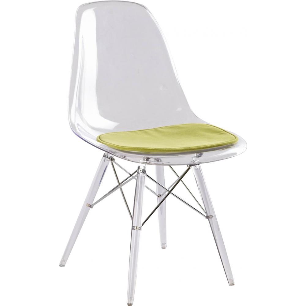 Chaise transparente assise simili vert inspir e dsw for Chaise dsw transparente