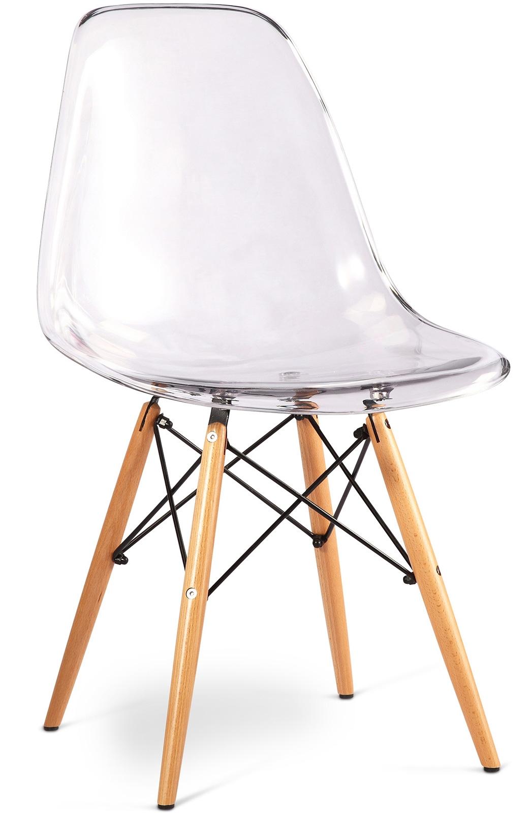 chaise transparente et pieds bois clair inspire dsw - Chaise Transparente