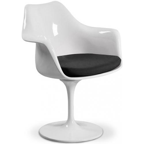 chaise tulipe blanche int rieur simili couleur noir. Black Bedroom Furniture Sets. Home Design Ideas