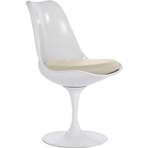 chaise tulipe pivotante coque blanche assise cuir beige. Black Bedroom Furniture Sets. Home Design Ideas