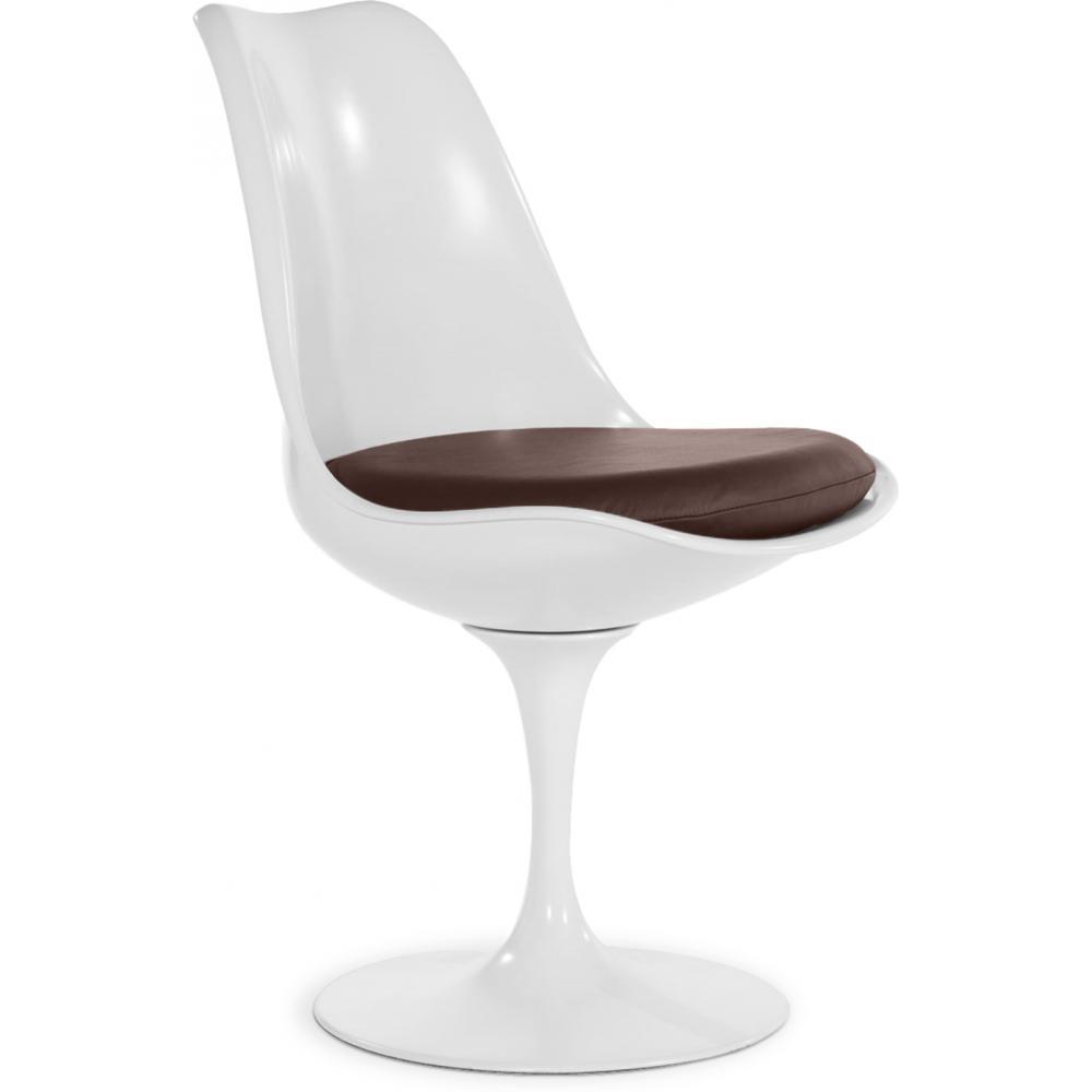 Chaise tulipe pivotante coque blanche assise tissu marron for Chaise blanche tissu