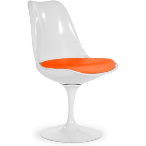 Chaise tulipe pivotante fibre de verre blanc assise tissu for Chaise blanche sejour