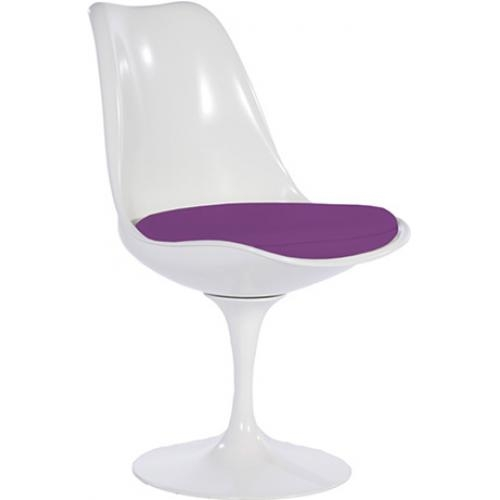 chaise tulipe pivotante fibre de verre blanc assise tissu violet. Black Bedroom Furniture Sets. Home Design Ideas