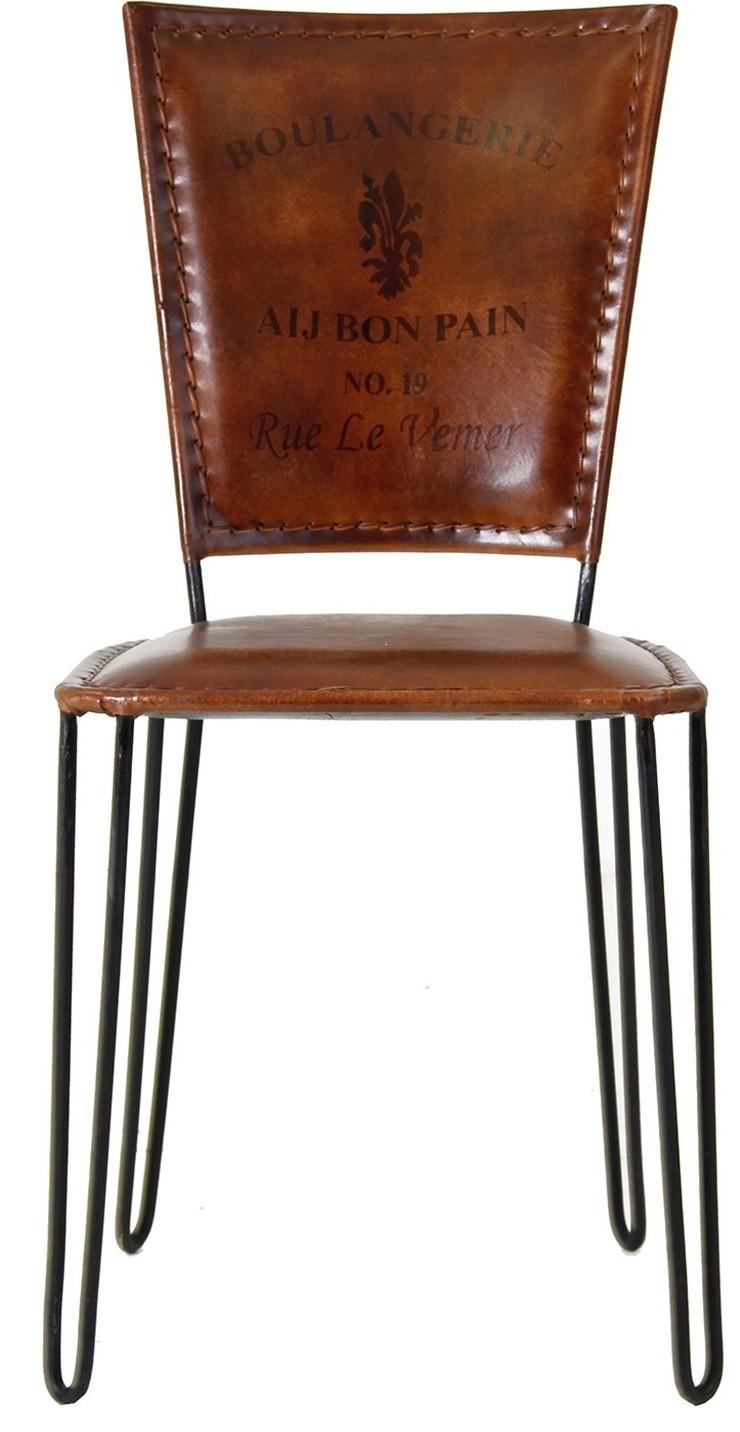 Chaise à Manger Vintage Fer Noir Et Assise Cuir Marron