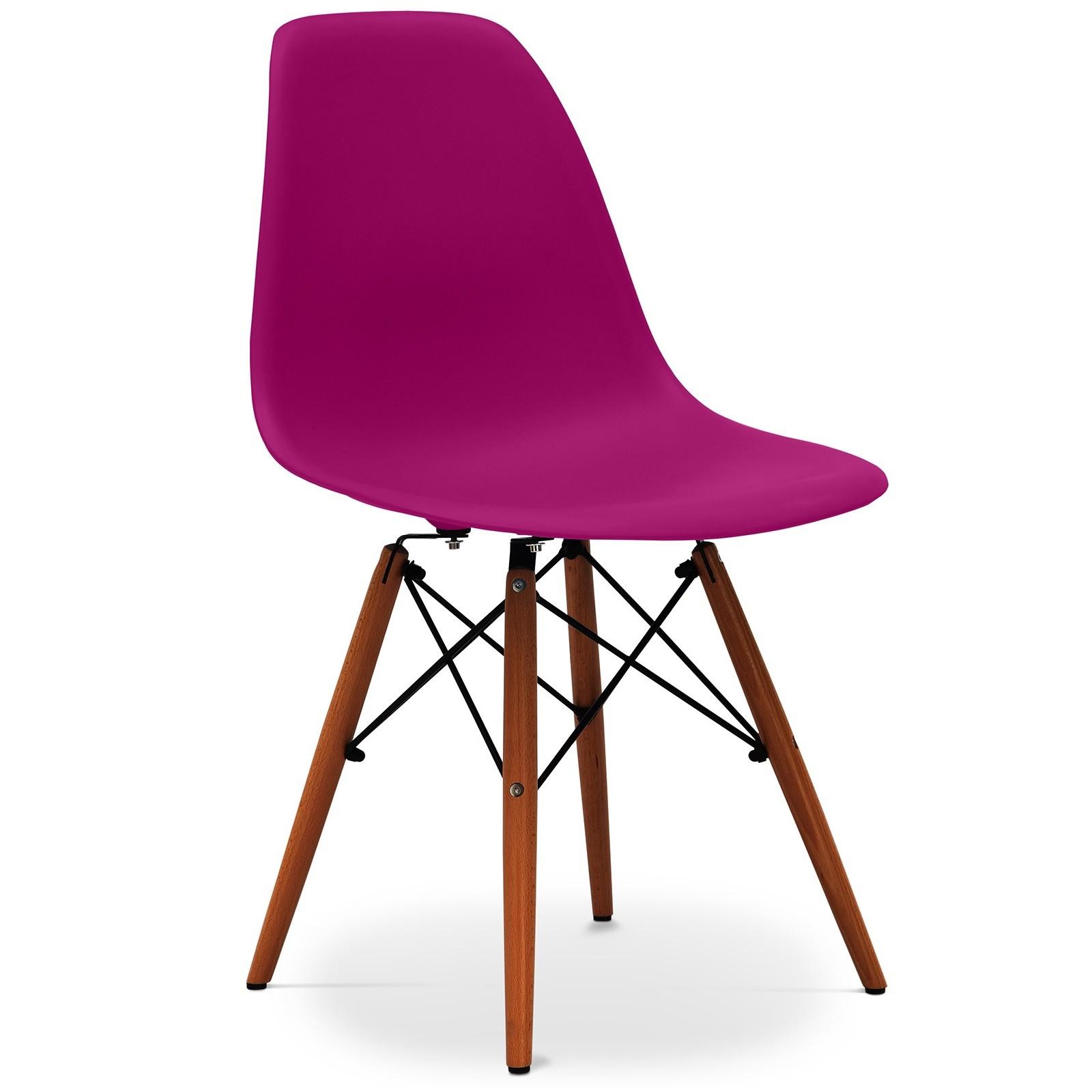 chaise violet mat et pieds h tre fonc geneva lot de 2. Black Bedroom Furniture Sets. Home Design Ideas