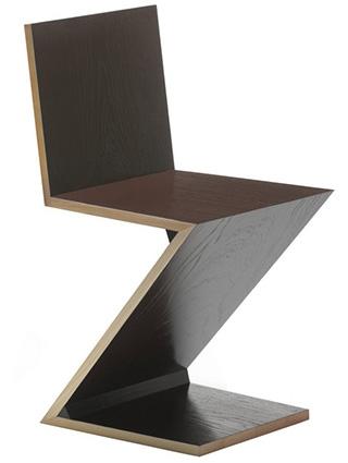 chaise marron inspir zigzag. Black Bedroom Furniture Sets. Home Design Ideas