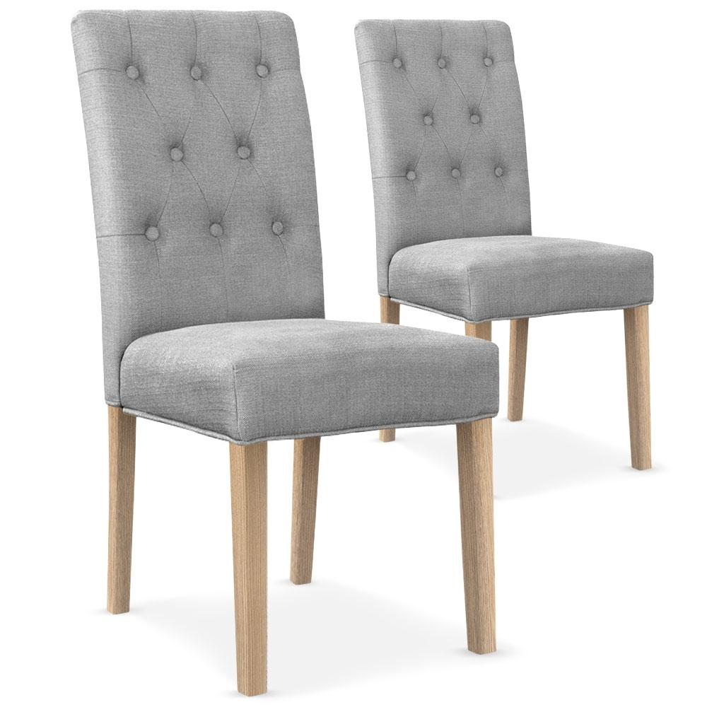 Chaise capitonn e tissu gris clair kotal for Chaise de salle a manger gris clair