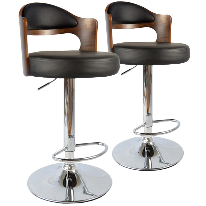 chaise de bar bois noisette et noir buli lot de 2. Black Bedroom Furniture Sets. Home Design Ideas