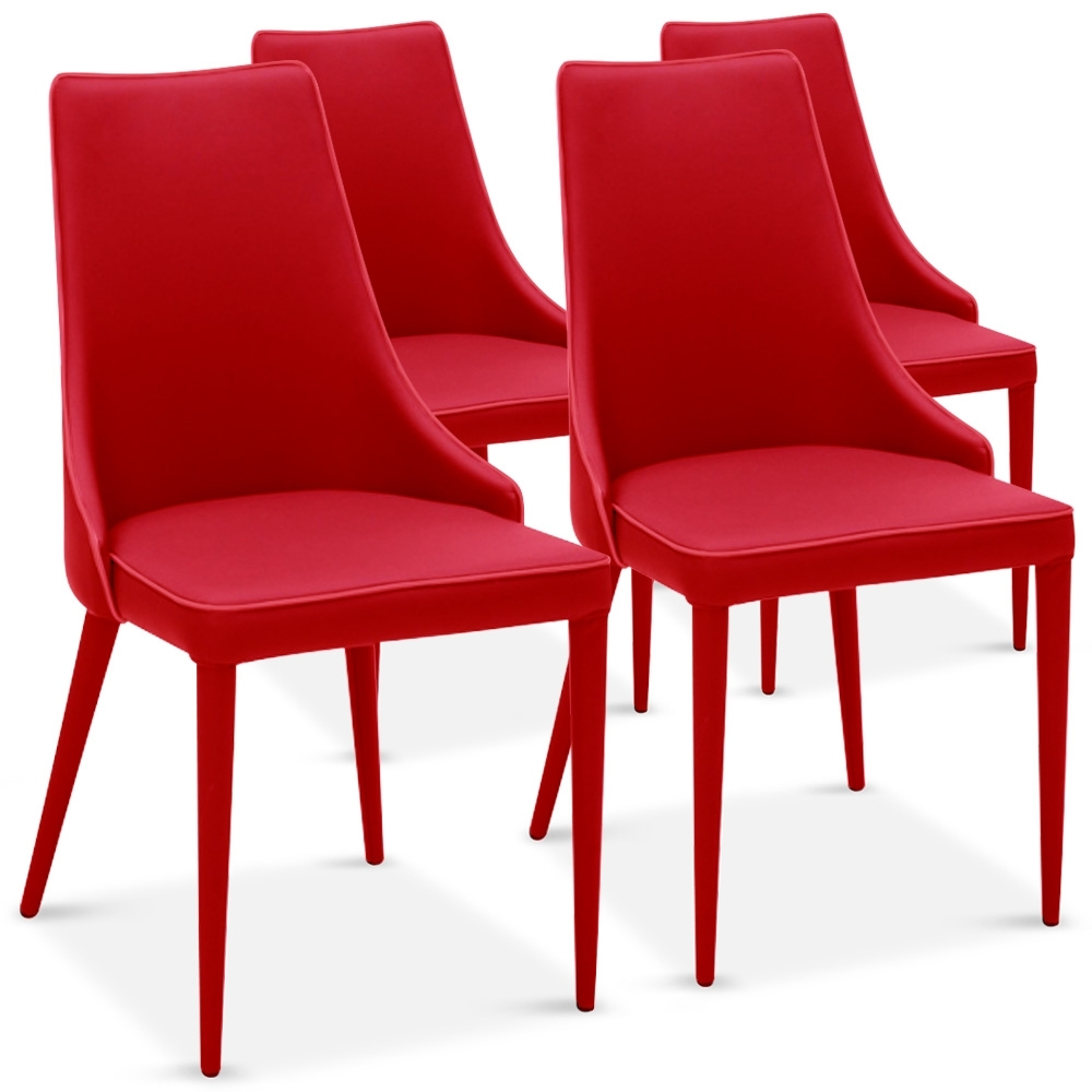 Chaise rouge drago lot de 4 for Chaise rouge