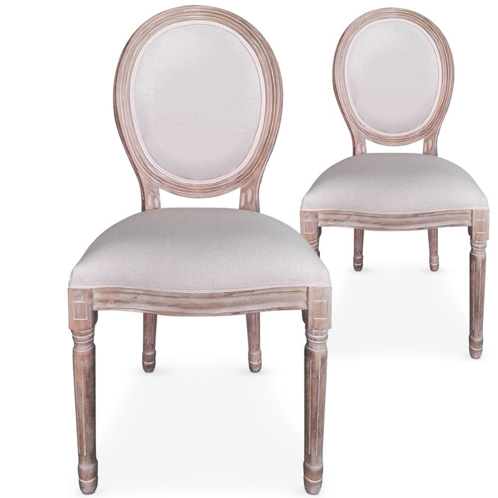 Chaises m daillon bois vieilli assise tissu beige for Chaise medaillon blanche