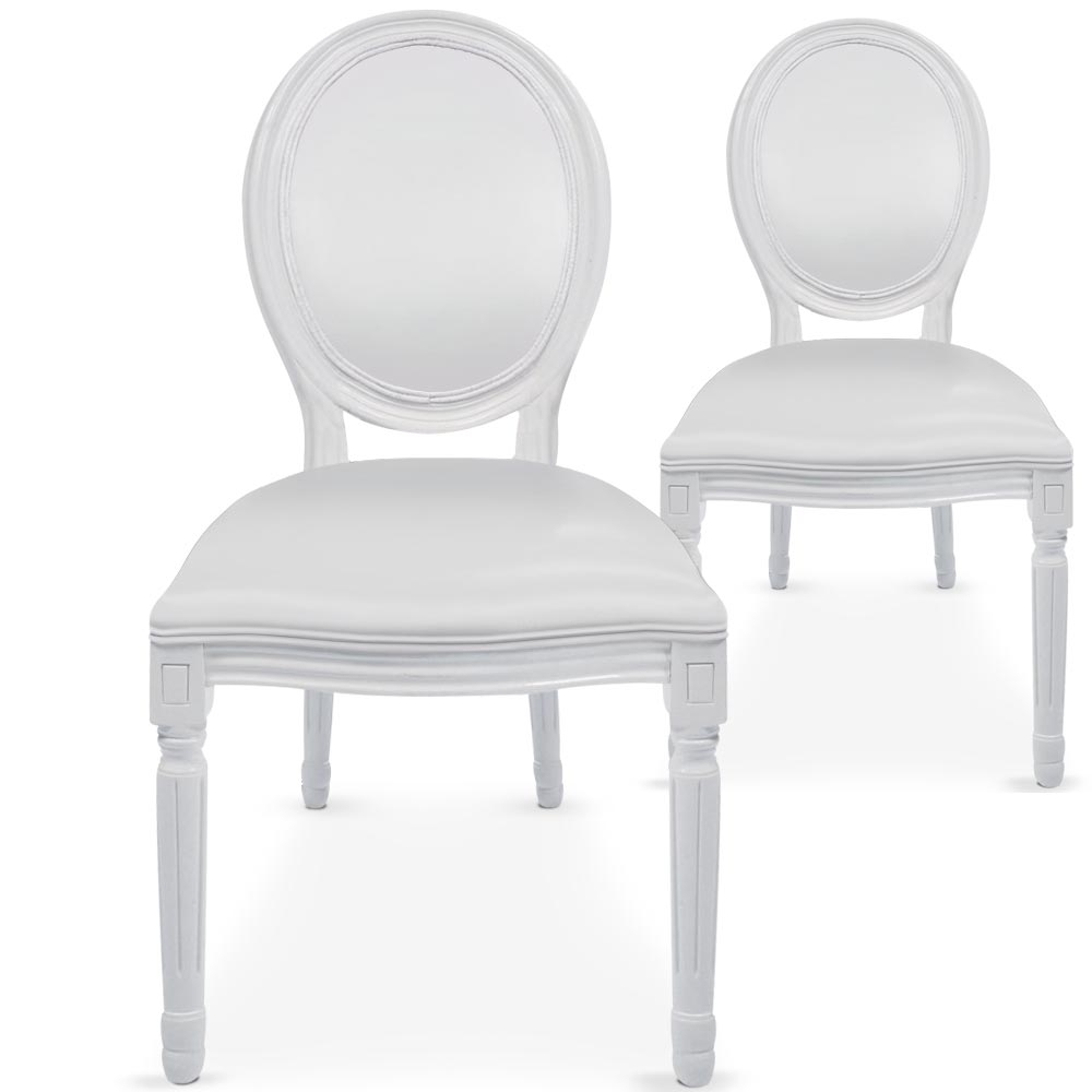 Chaises m daillon bois blanc assise simili blanc for Chaise medaillon pas cher