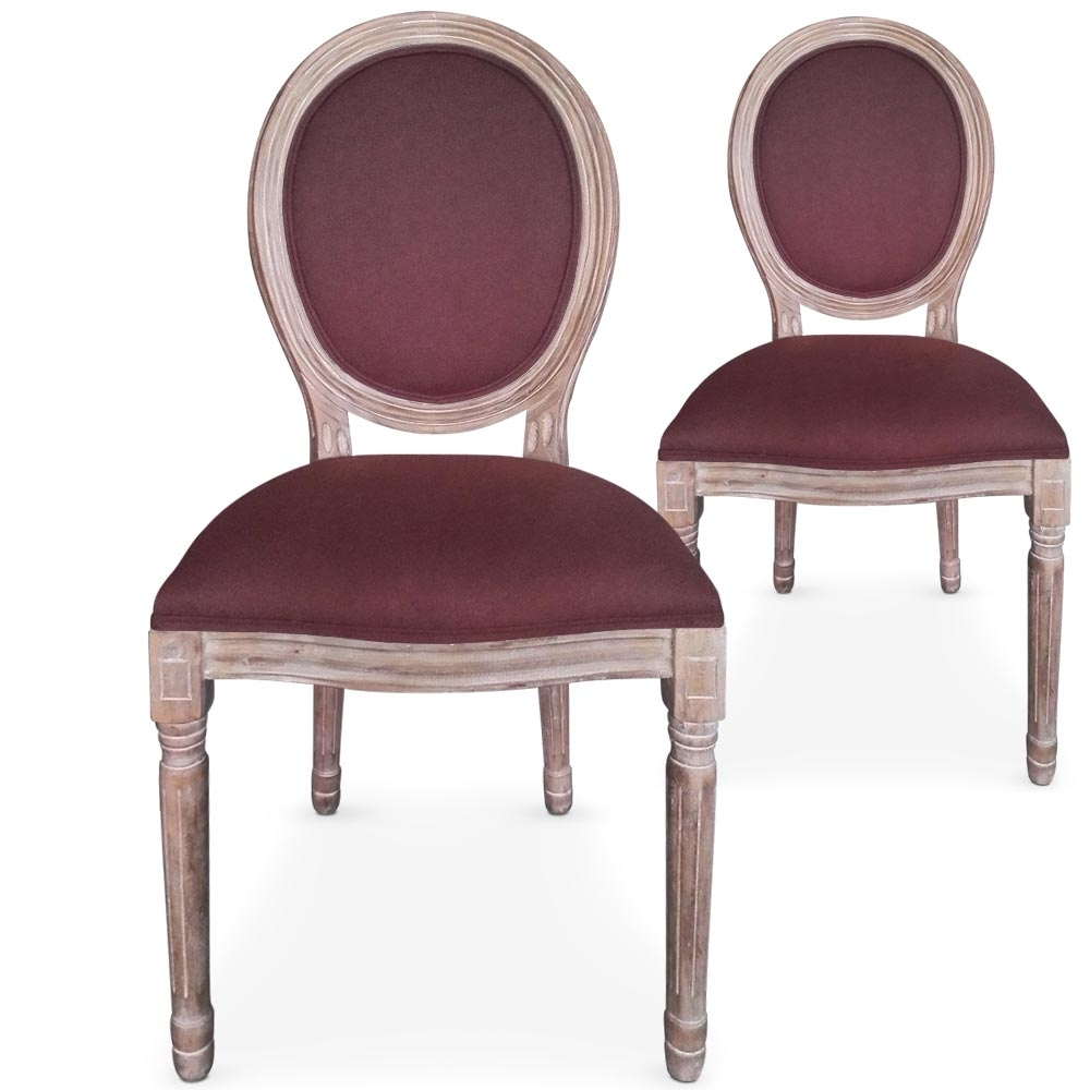 chaises m daillon bois vieilli assise velours rouge cerise. Black Bedroom Furniture Sets. Home Design Ideas