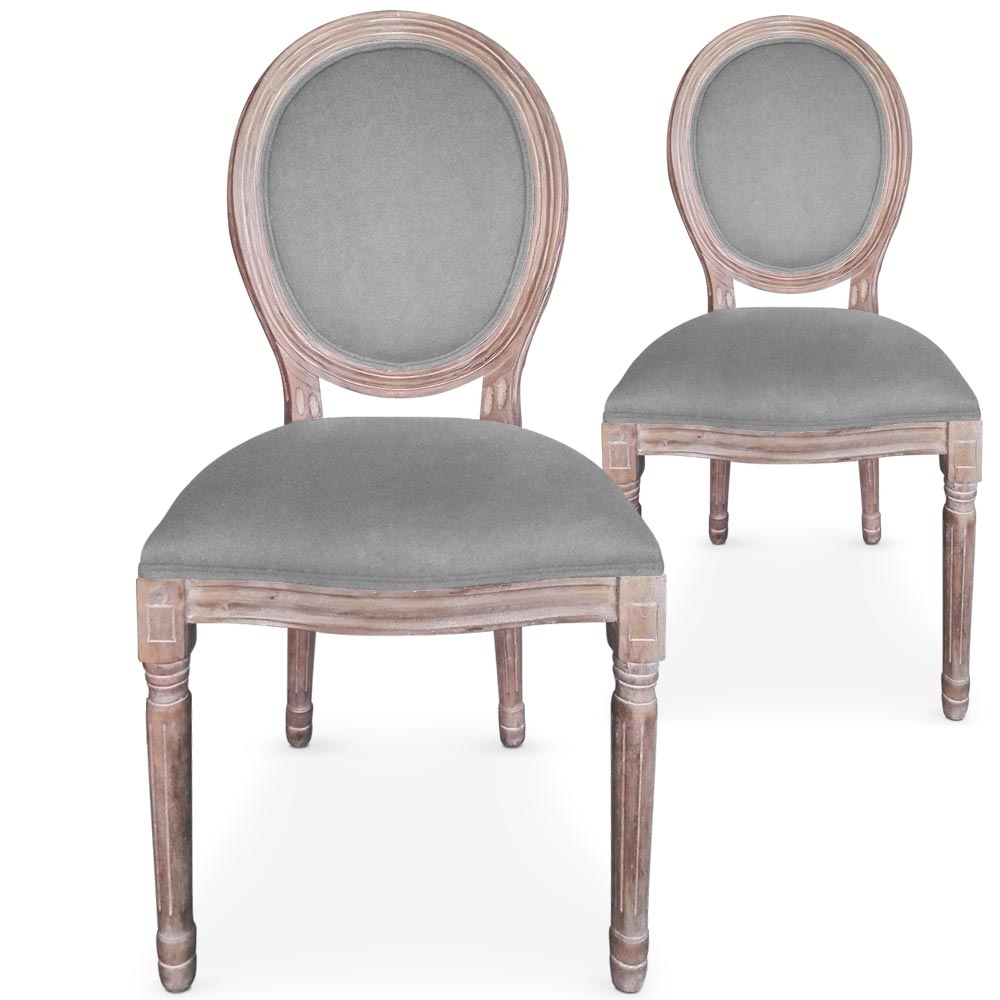 Chaises m daillon bois vieilli assise velours gris - Chaise medaillon velours ...