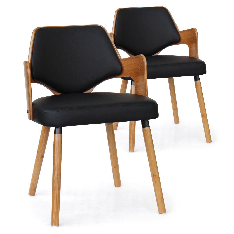 chaise bois naturel et simili noir diva lot de 2. Black Bedroom Furniture Sets. Home Design Ideas
