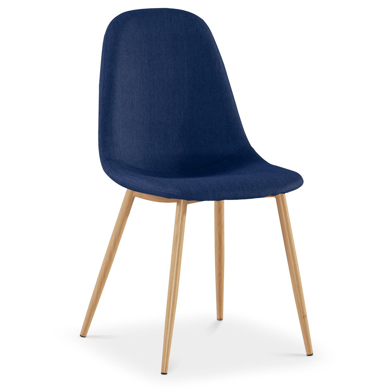 chaise scandinave tissu bleu glas lot de 4. Black Bedroom Furniture Sets. Home Design Ideas