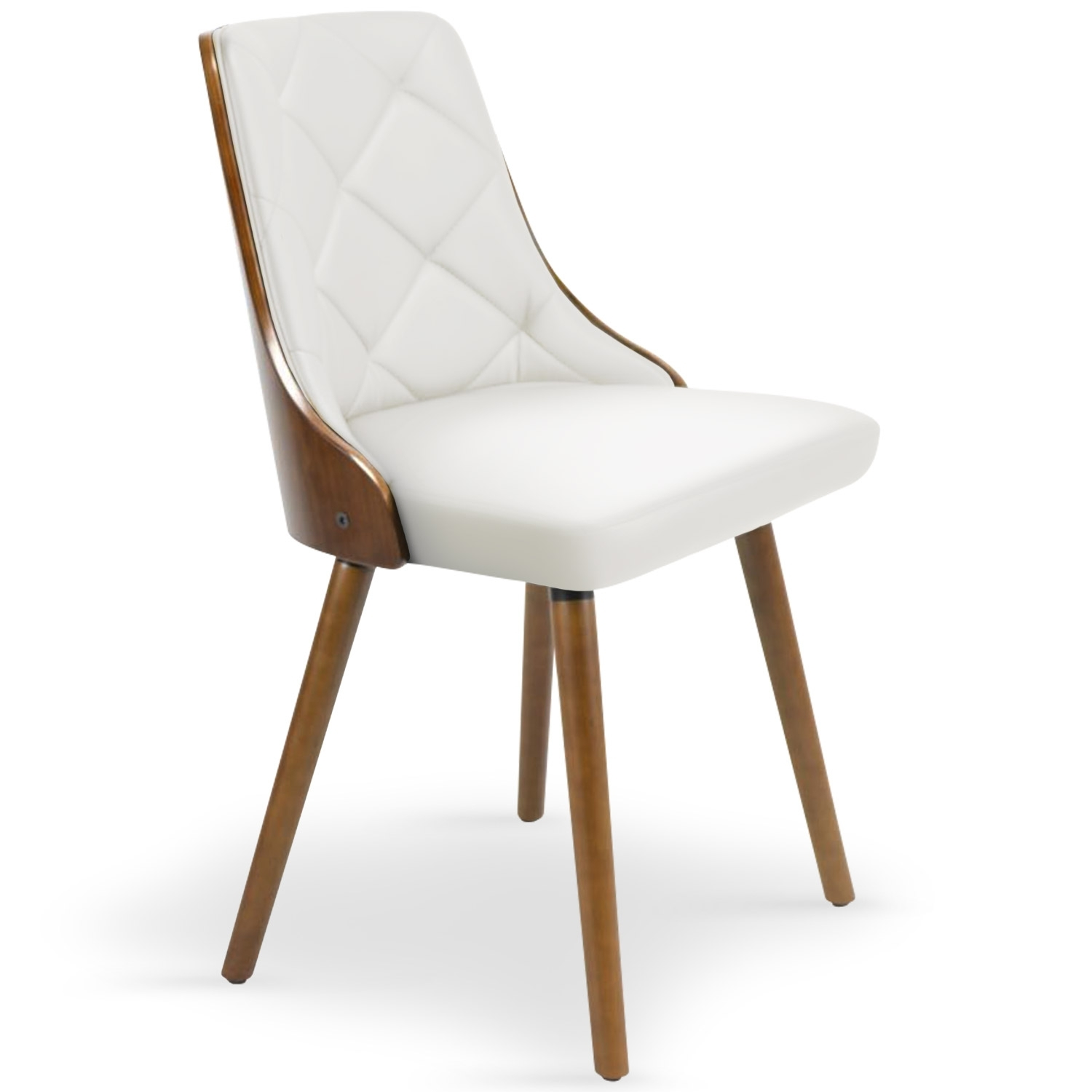 Chaise scandinave bois noisette et blanc pako for Chaise cuir blanc