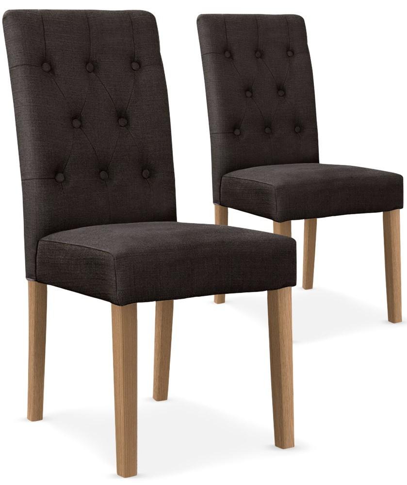 chaises tissu taupe c cilia lot de 2. Black Bedroom Furniture Sets. Home Design Ideas