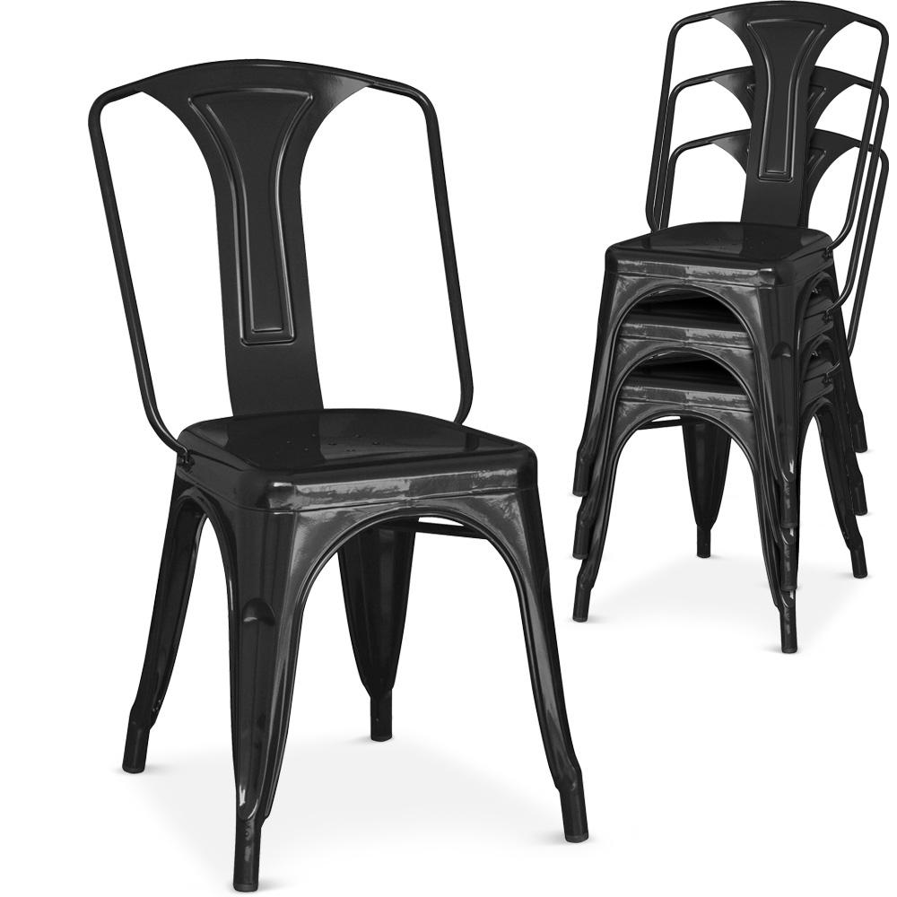 Chaise Mtal Laqu Noir Brinx
