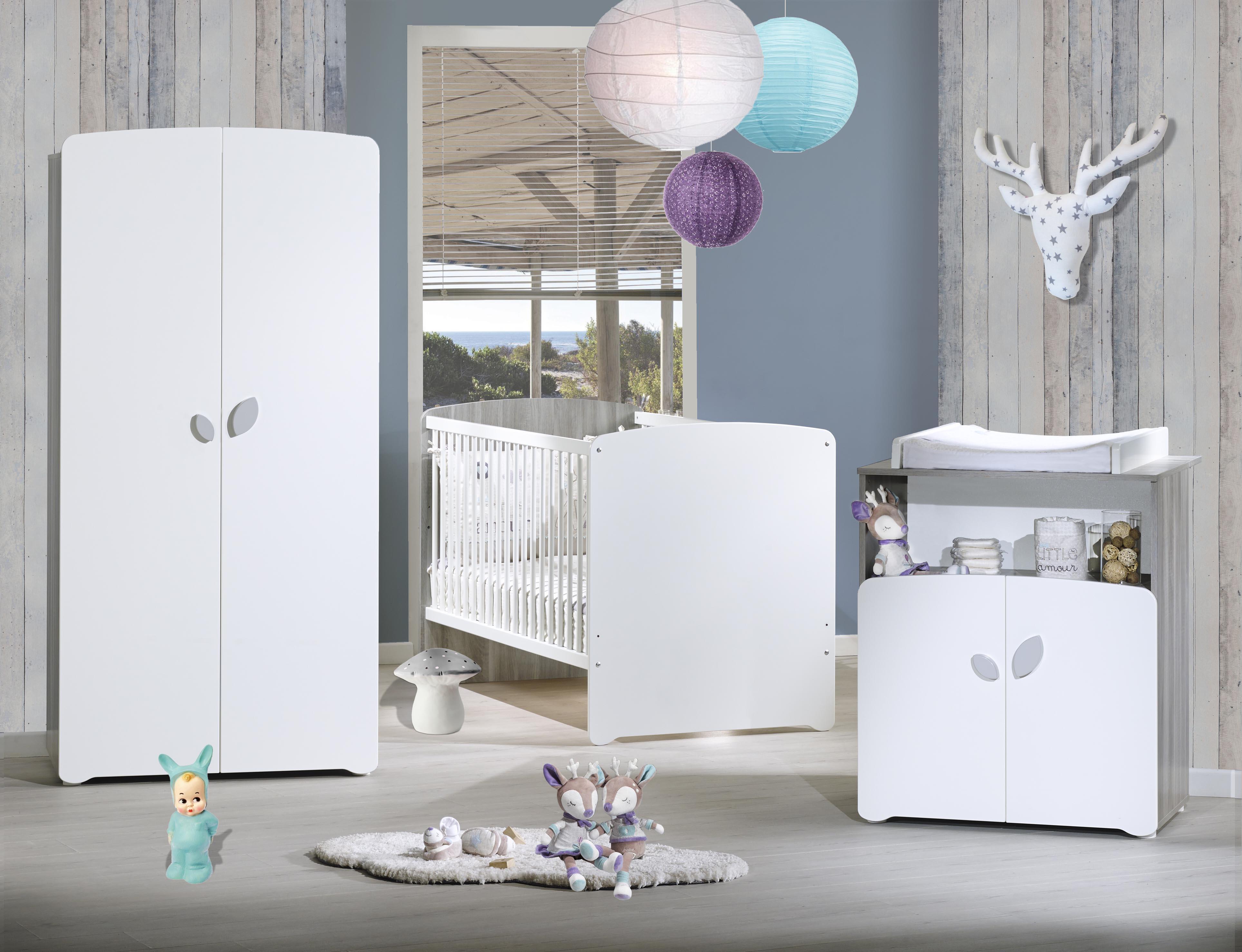 Chambre avec lit combin volutif gris et blanc leaf - Chambre de bebe gris et blanc ...