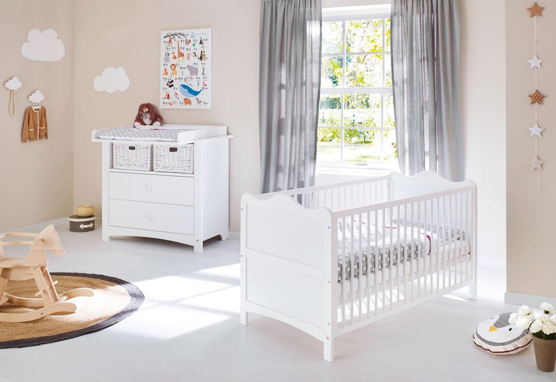 chambre b b 2 pi ces pin massif blanc florentina. Black Bedroom Furniture Sets. Home Design Ideas