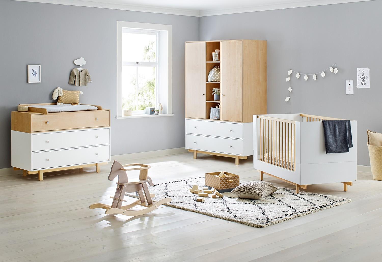 Chambre bébé 3 pièces laqué blanc et bois clair Boks