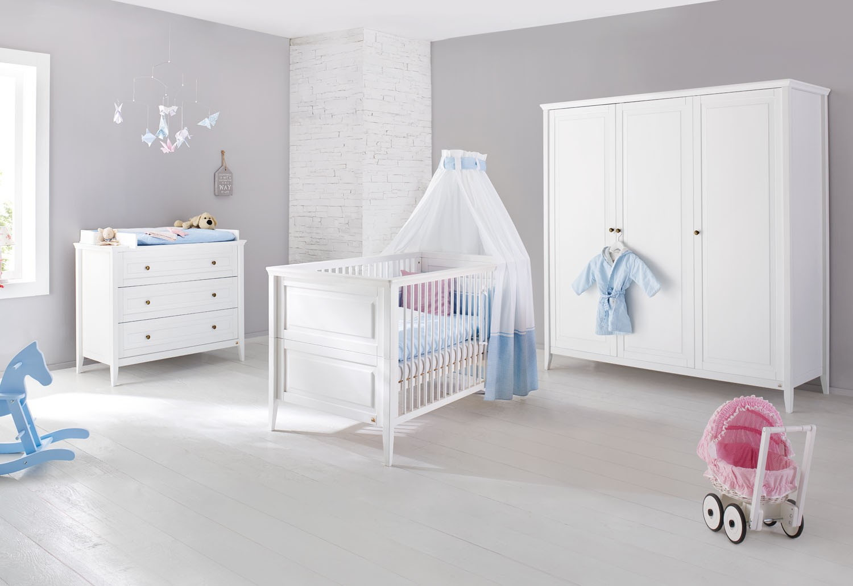 chambre b b 3 pi ces pin massif blanc smilla. Black Bedroom Furniture Sets. Home Design Ideas
