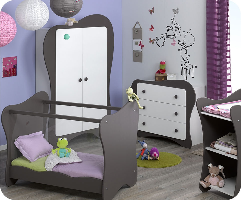 Chambre b b compl te blanc et taupe iris Bebe chambre complete