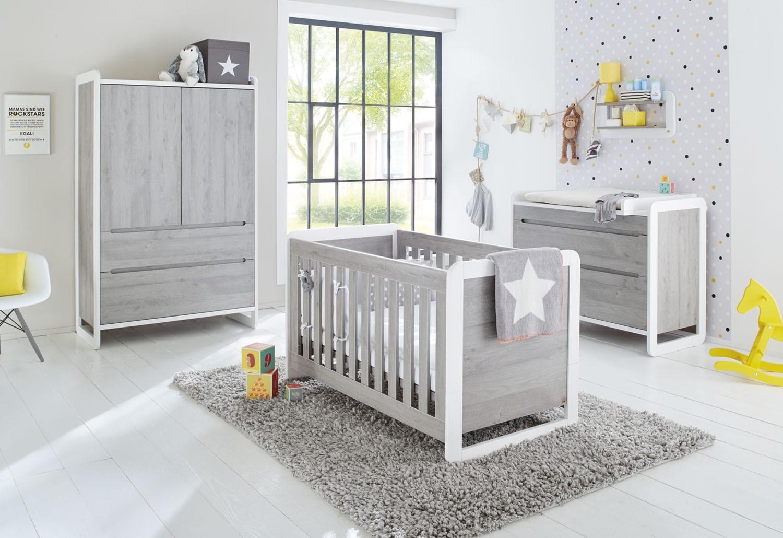 Chambre bébé Frêne gris Curve Pinolino - LesTendances.fr