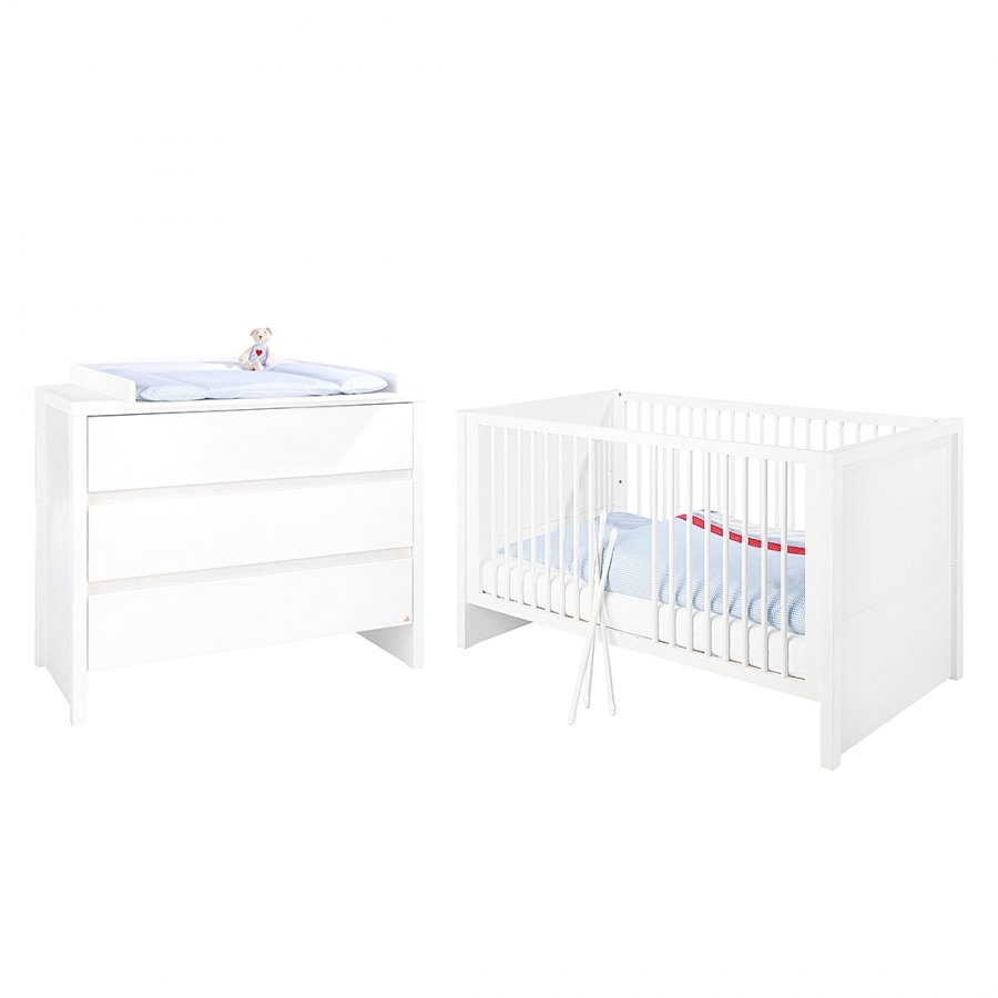 Chambre a coucher pin massif blanc 210050 for Chambre bebe meuble blanc