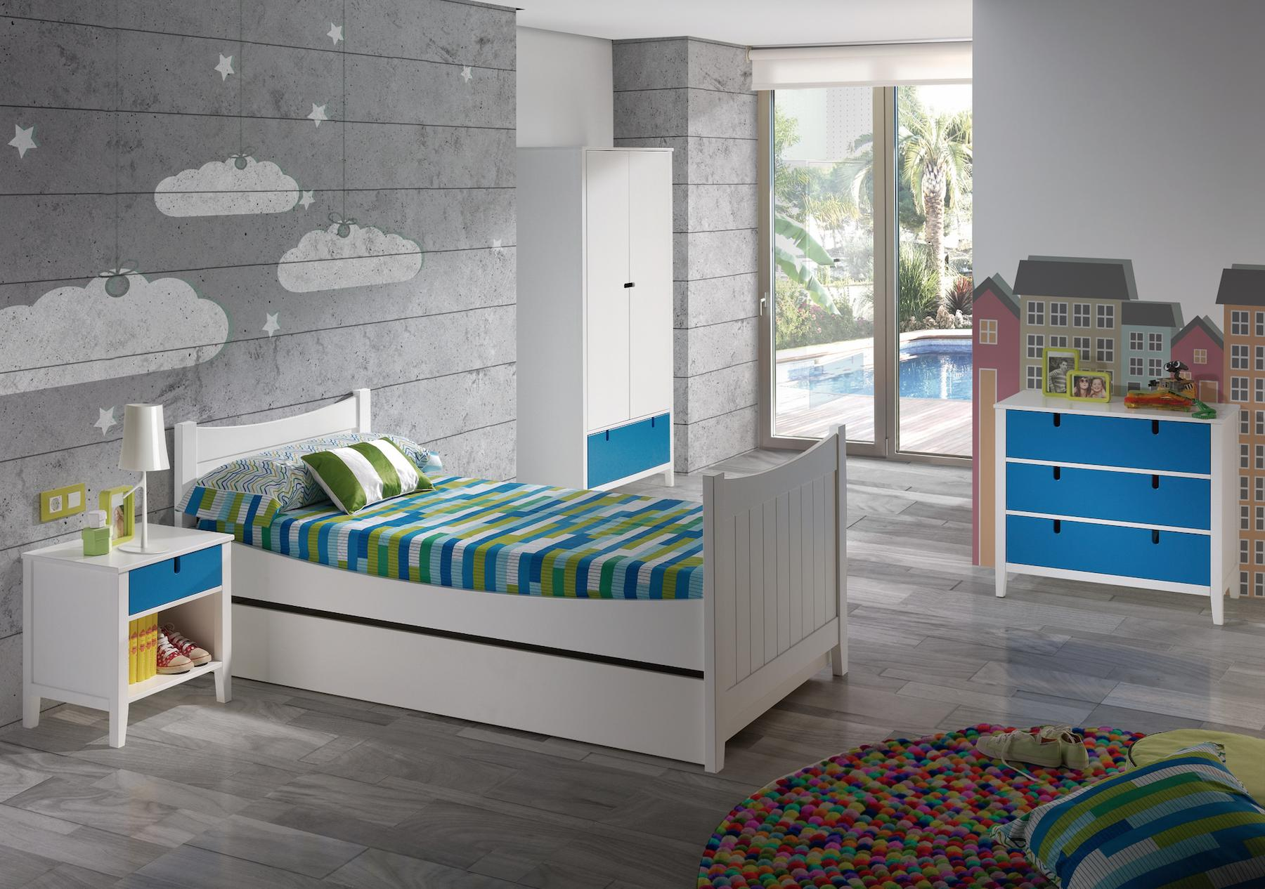 chambre blanc et rose ou bleu r versible. Black Bedroom Furniture Sets. Home Design Ideas