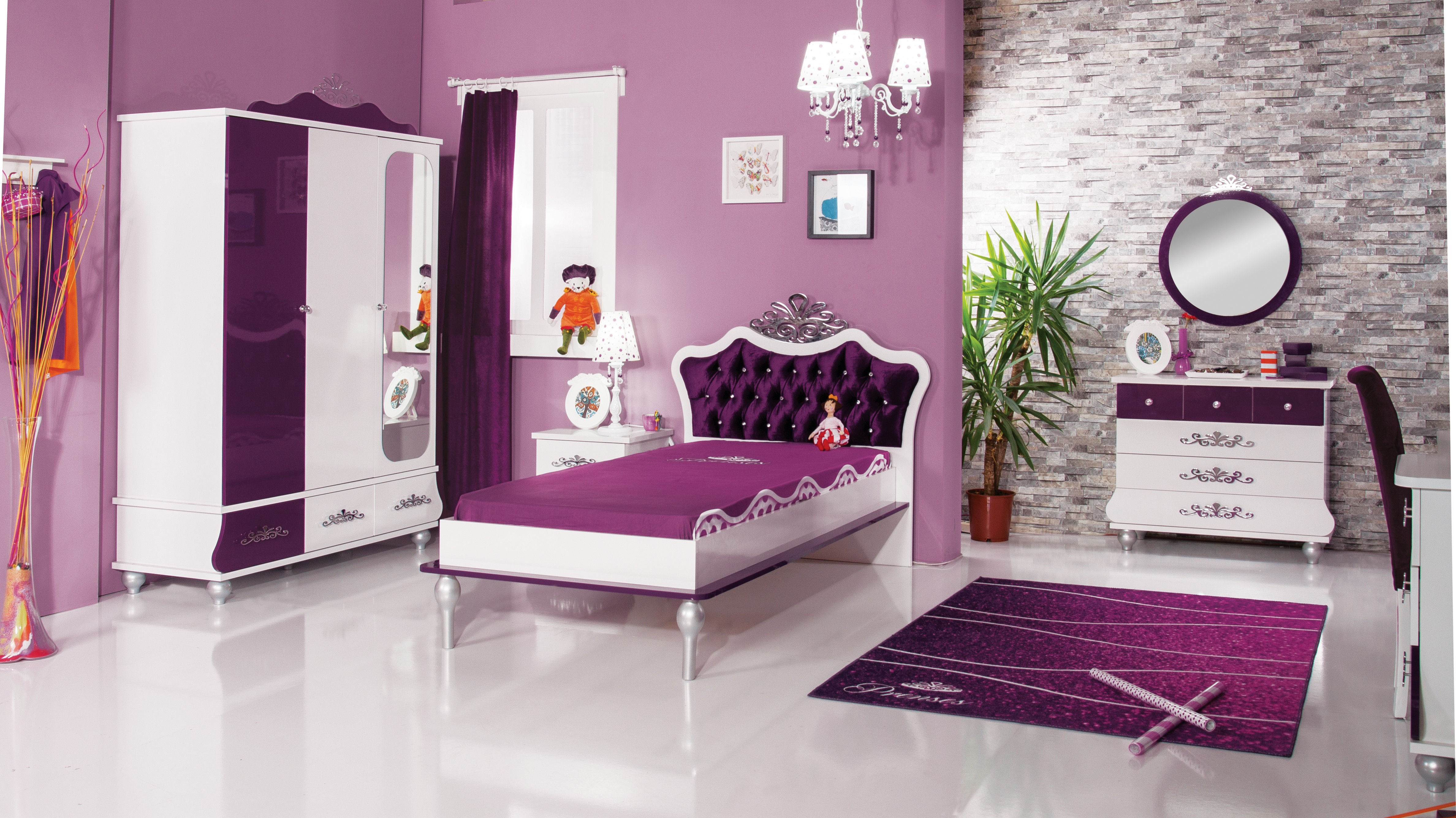 chambre blanc et violette princesse dola. Black Bedroom Furniture Sets. Home Design Ideas