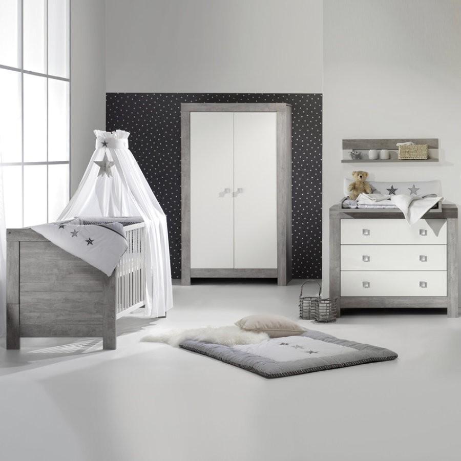 Chambre compl te bois massif gris et blanc nordic - Chambre bebe bois massif ...