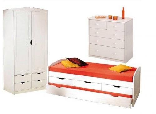 chambre compl te pin massif blanc. Black Bedroom Furniture Sets. Home Design Ideas