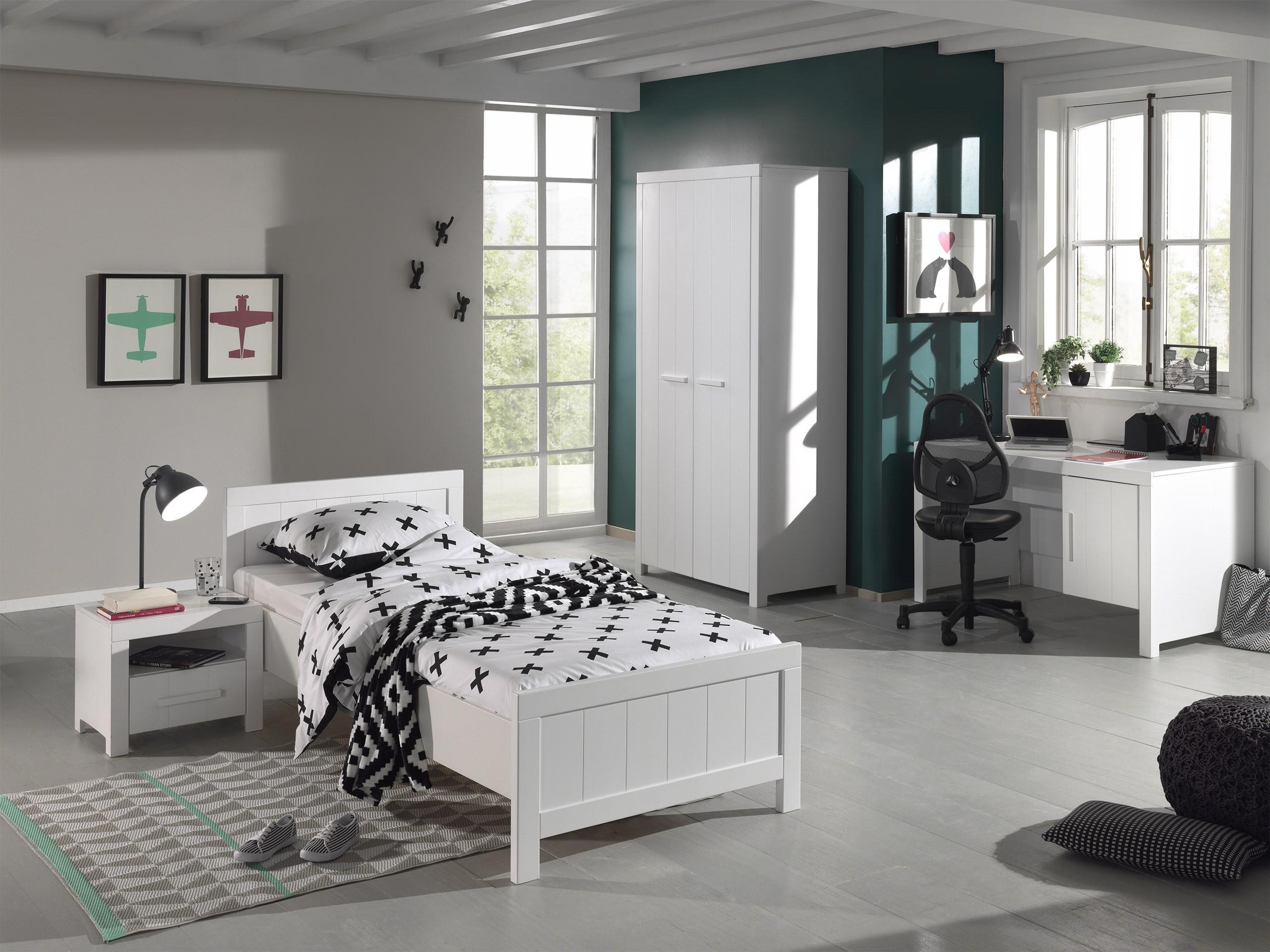 chambre enfant 4 pi ces pin massif laqu blanc linea. Black Bedroom Furniture Sets. Home Design Ideas