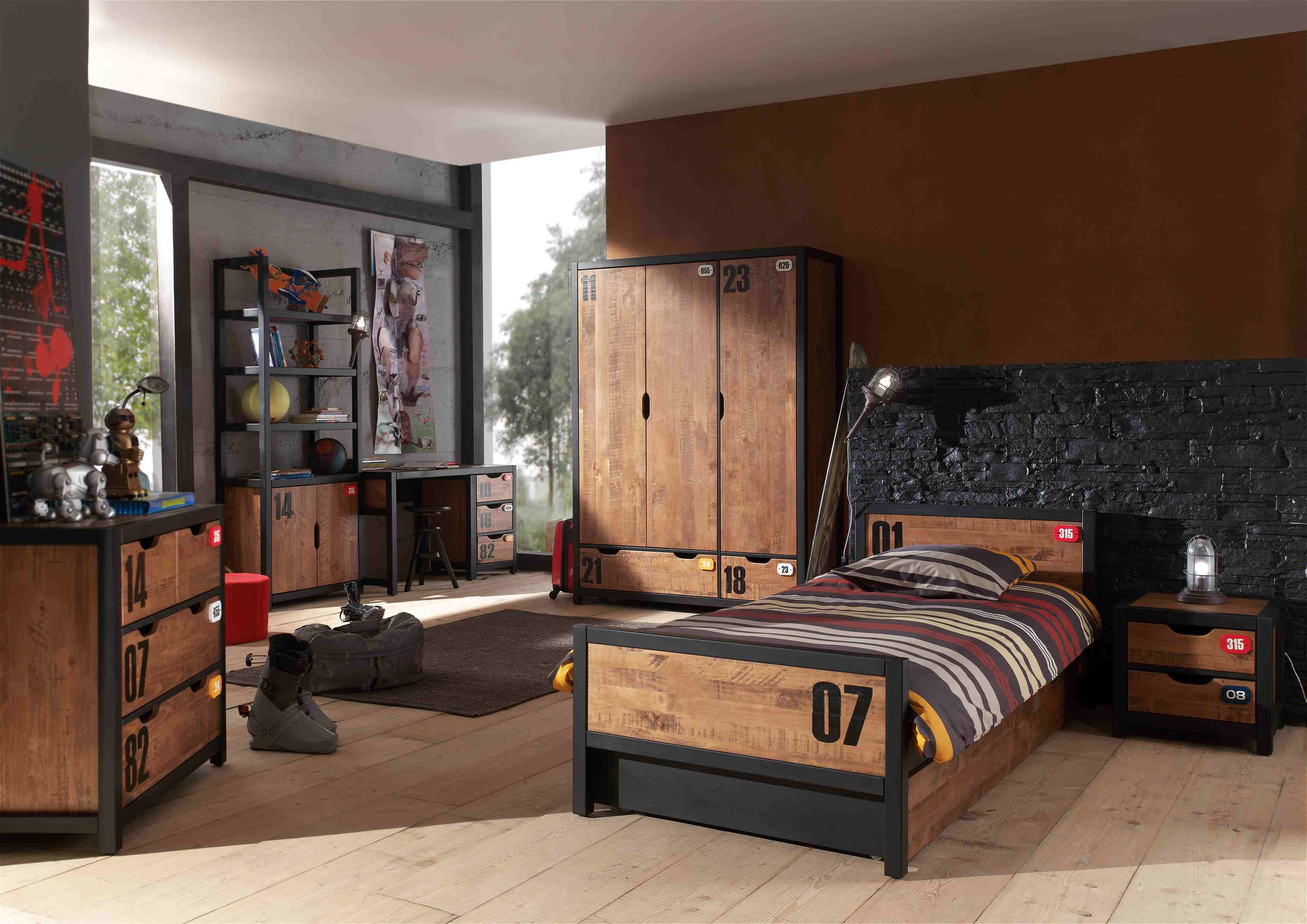 Chambre enfant avec armoire 3 portes Bois massif Marron Industriel