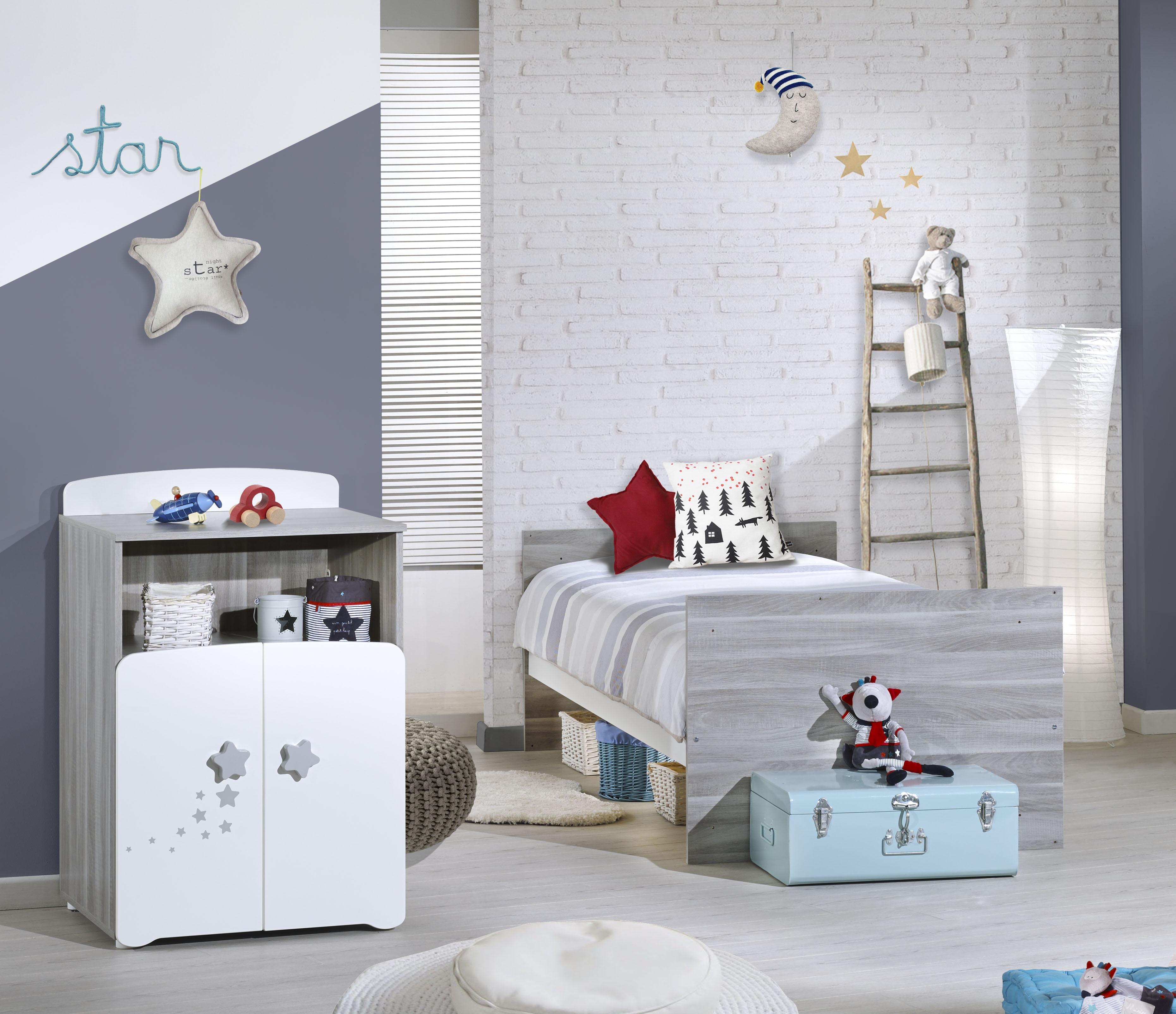 Chambre Bebe Lit Combine : Chambre lit combiné évolutif chêne silex et blanc new nao