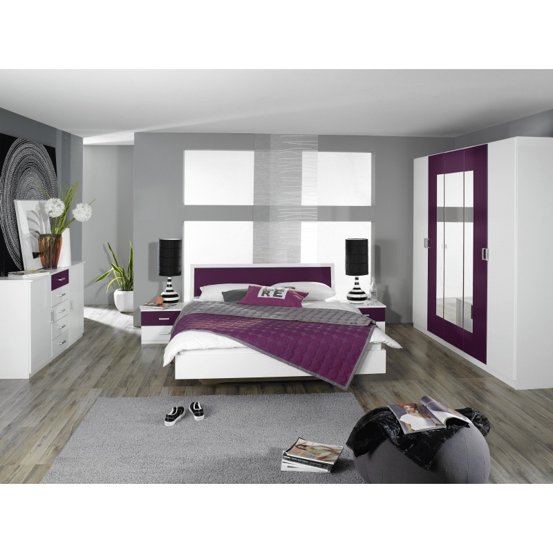 Chambre adulte moderne blanc et myrtille kozy for Acheter chambre adulte complete