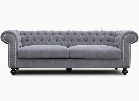 Chesterfield Tissu Gris 3 Places Contemporain