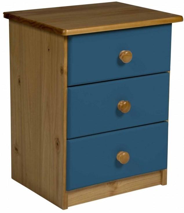 chevet 3 tiroirs pin massif naturel et bleu aladin. Black Bedroom Furniture Sets. Home Design Ideas