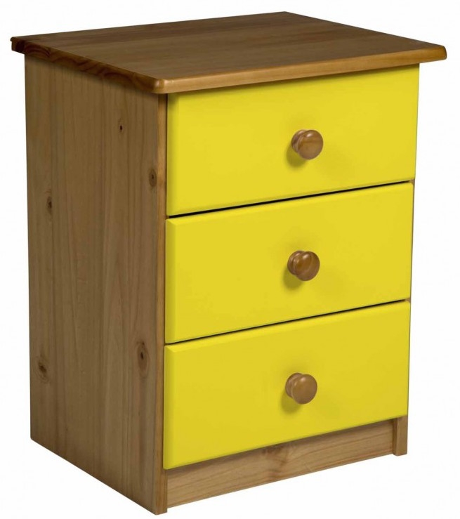 chevet 3 tiroirs pin massif naturel et jaune aladin. Black Bedroom Furniture Sets. Home Design Ideas