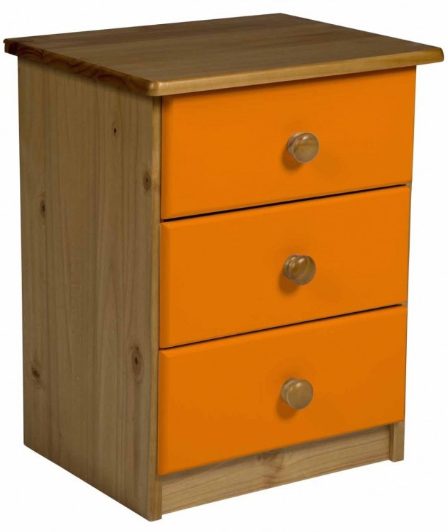 chevet 3 tiroirs pin massif naturel et orange aladin. Black Bedroom Furniture Sets. Home Design Ideas