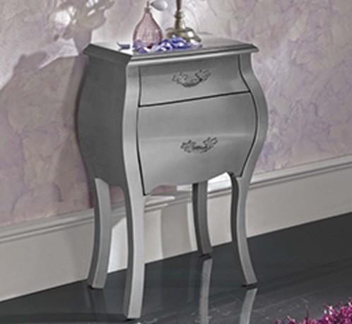 chevet design blanc argent marsus. Black Bedroom Furniture Sets. Home Design Ideas