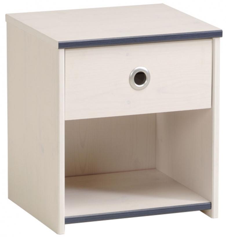 chevet bois blanc et bleu suzy. Black Bedroom Furniture Sets. Home Design Ideas