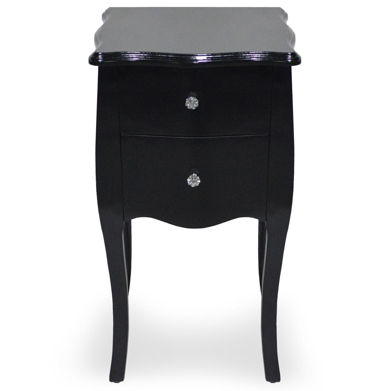 chevet bois laqu noir klara. Black Bedroom Furniture Sets. Home Design Ideas