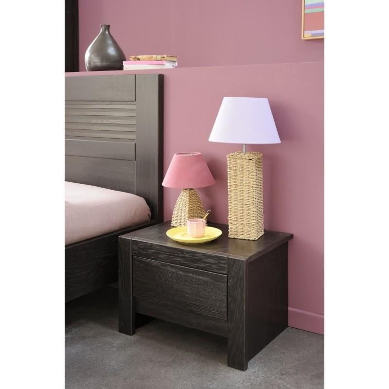 chevet en bois marron sun. Black Bedroom Furniture Sets. Home Design Ideas