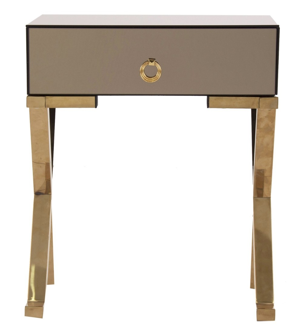 chevet moderne verre marron et m tal dor art deco. Black Bedroom Furniture Sets. Home Design Ideas