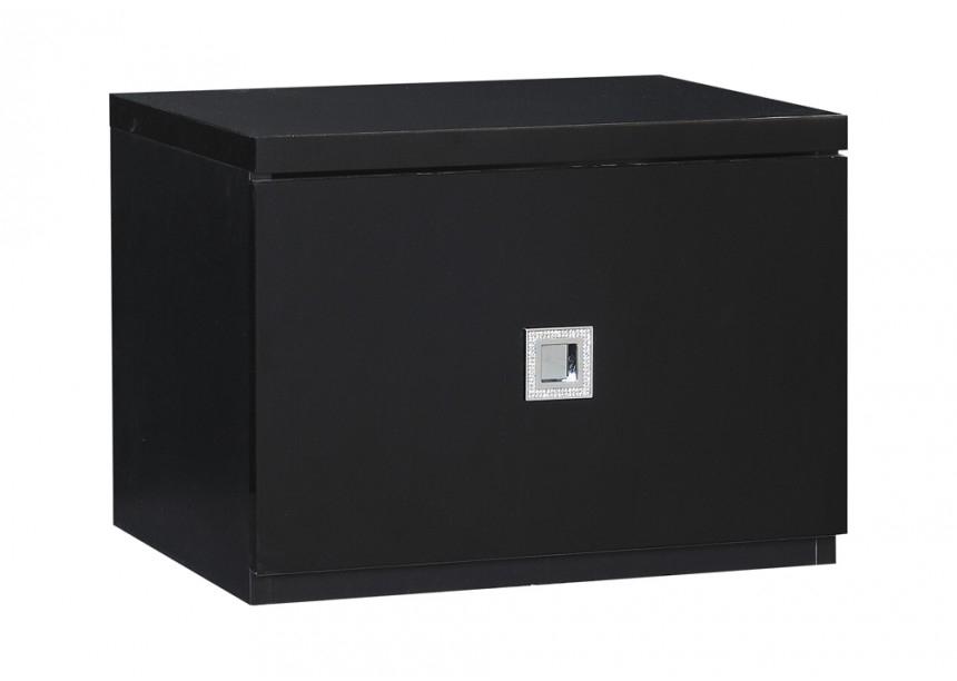 chevet noir laqu strass. Black Bedroom Furniture Sets. Home Design Ideas